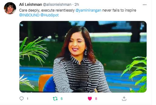 Tweet with Yamini Rangan from Ali Leishman