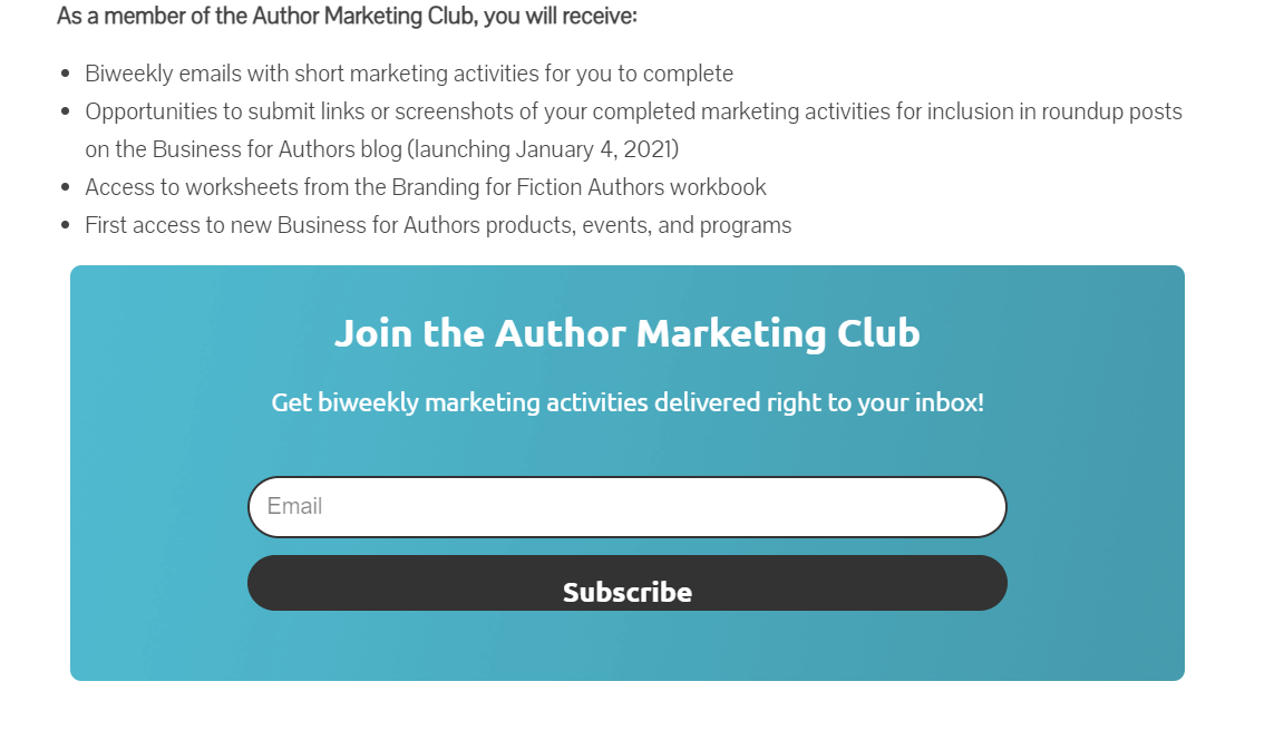 Newsletter landing page: Author Marketing Club