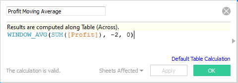 Profit Moving Average calculation in Tableau