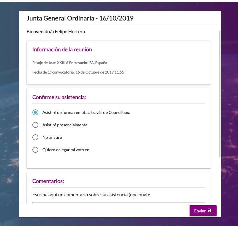 Opciones de asistencia presencial o remota a través de Councilbox