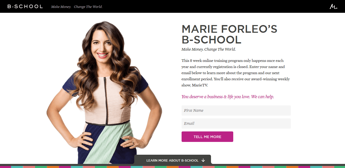Marie Forleo Squeeze Page Example
