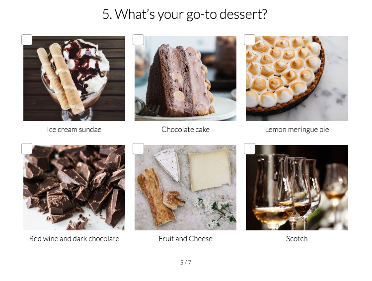 quiz question on what do you like for dessert with images for each