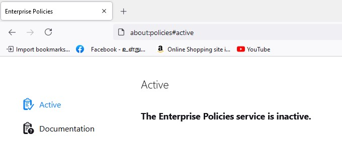Inactive Enterprise Policies page in Mozilla Firefox
