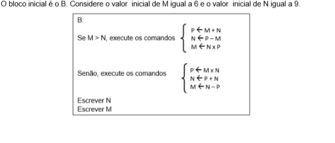 Os valores escritos através das variáveis N e M serão, respectivamente,