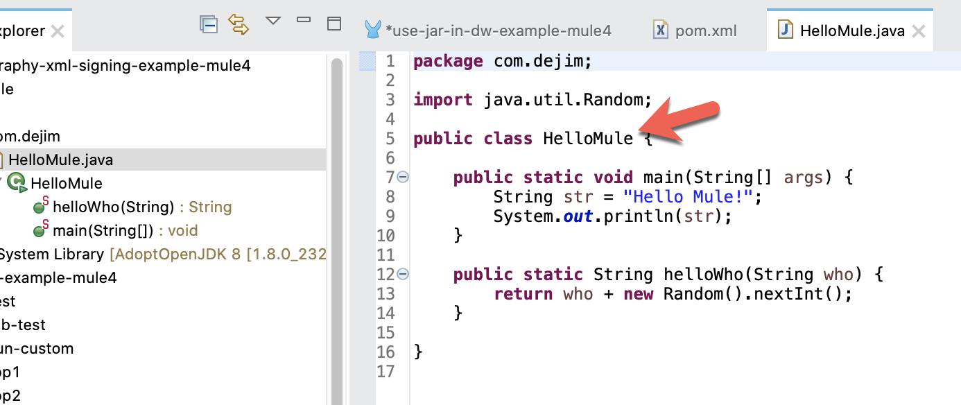 Call a Java Method from a *.jar file in DataWeave - dejim.com