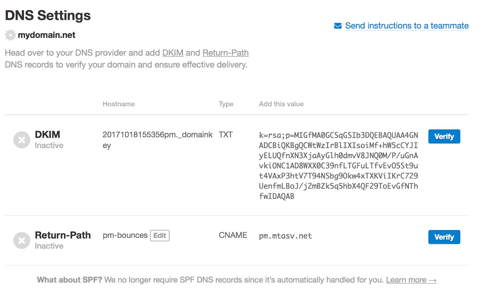 DKIM record DNS settings