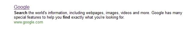 Examples of Great Meta Descriptions - Google Meta Description on Bing