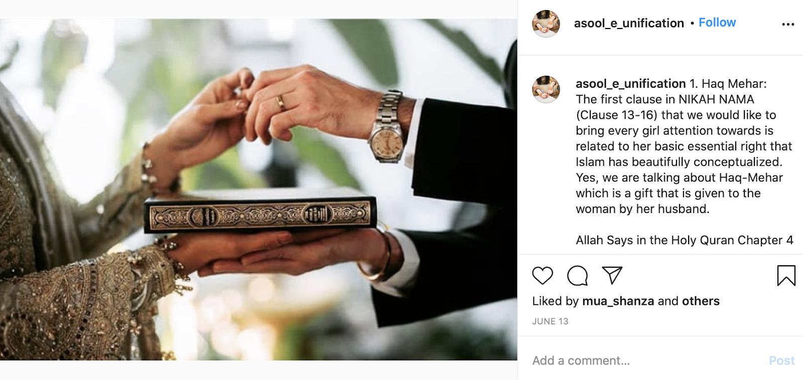 Nikah-Nama at Islamic wedding ceremony