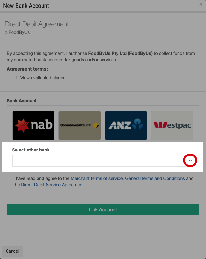 FoodByUs_bank_account_payment_other_banks