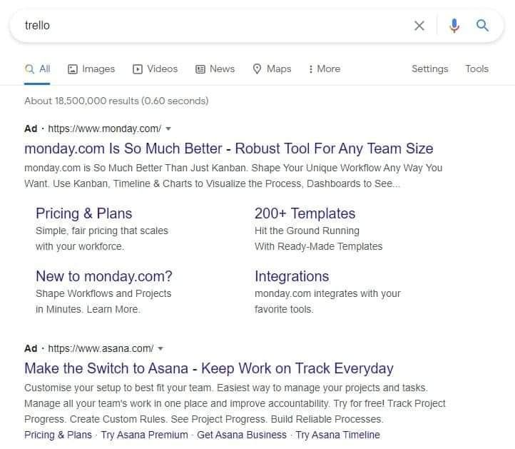An example of competitor bidding on Google ads