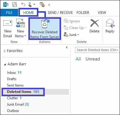 restore deleted items in outlook