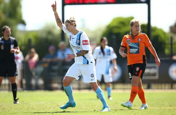 Larissa Crummer celebrates after scoring against Brisbane Roar during round six of W-League | Source: Scott Barbour - Getty Images