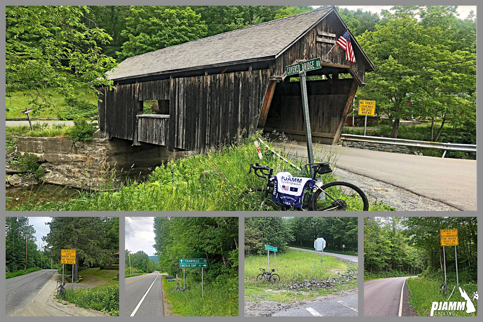 Cycling Lincoln Gap East - photo collage, old wooden covered bridge crossing small river, Covered Bridge Road sign in foreground with bike leaning against it, draped with PJAMM cycling jersey, multiple road signs along road surrounded with dense forestation