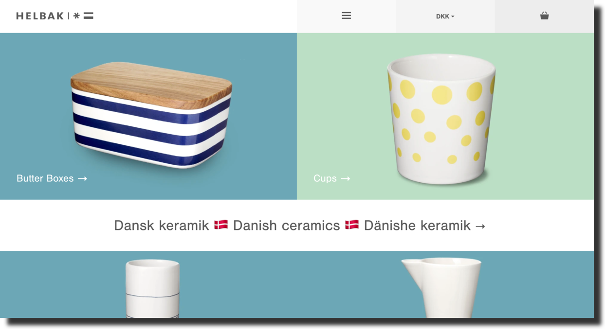 Helbak website screenshot everyday-use ceramic articles company Ecommerce Website Designs