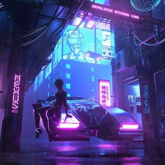 Cartaz com ilustração de cyberpunk