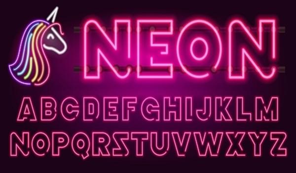 Bảng chữ cái neon sáng trên nền tối