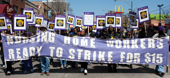 Image result for photos of illinois nursing home workers fighting for $15 minimum wage