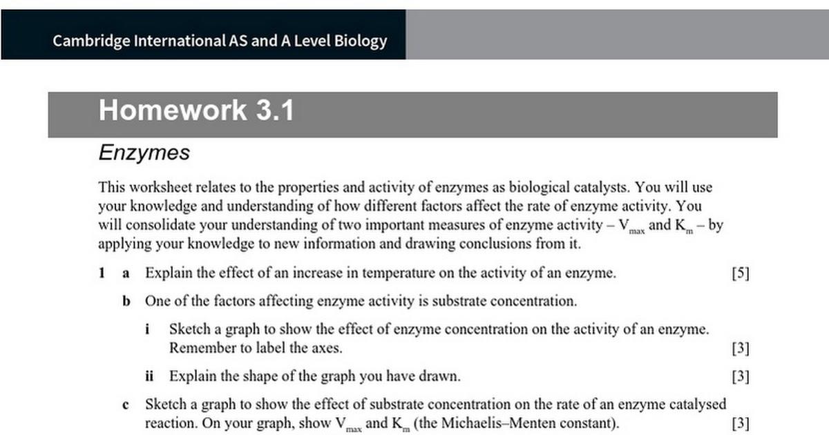 Ch03HW31 Google Docs – Enzyme Activity Worksheet