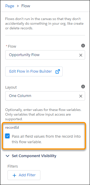 "Flow component in Lightning App Builder showing the ""Pass all field values from the record into this flow variable"" checkbox"