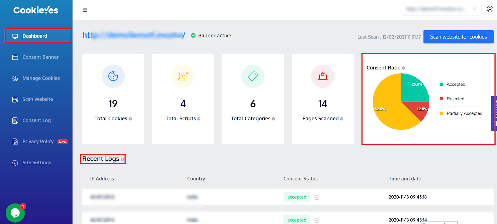CookieYes cookie consent dashboard