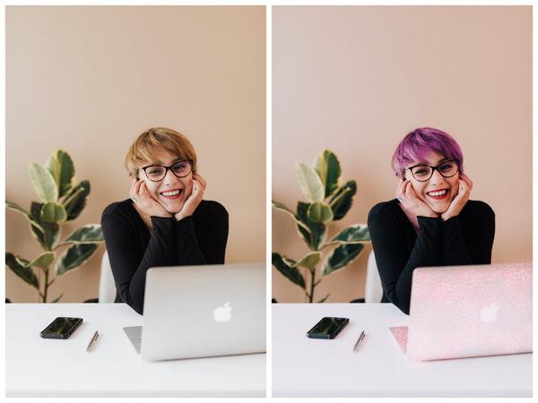 Montagem com 2 fotos da mesma mulher no escritório mostrando o antes e depois da edição.