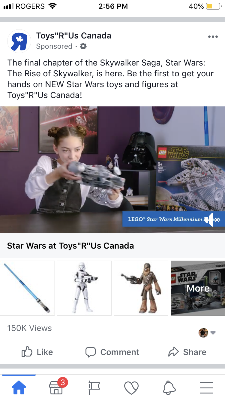 Shopping Ad: A Facebook sponsored post for Toys R Us Canada displaying a young child playing with Star Wars toys.