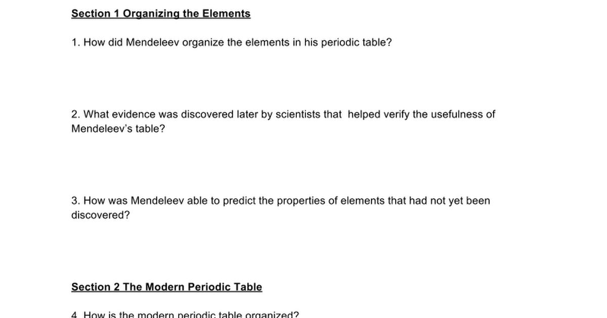 Periodic Table mendeleevs periodic table helped predict properties of : Ch 5 Periodic Table Review - Google Docs