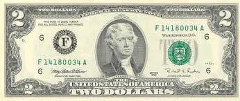 Descrição: Nota americana de dois dólares