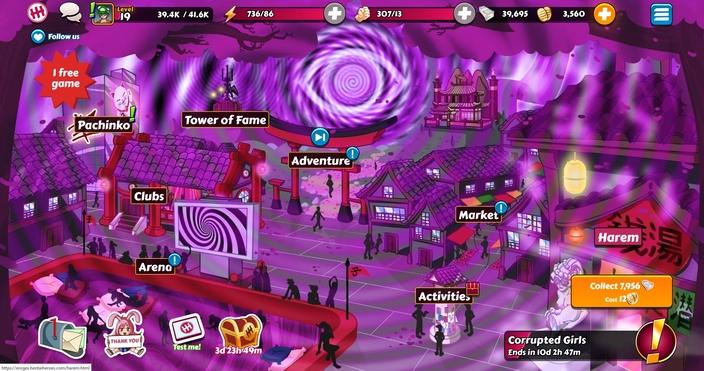 Hentai Heroes game menu