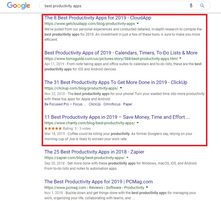 """Google search results for """"Best productivity apps"""" as an example of a PR campaign."""
