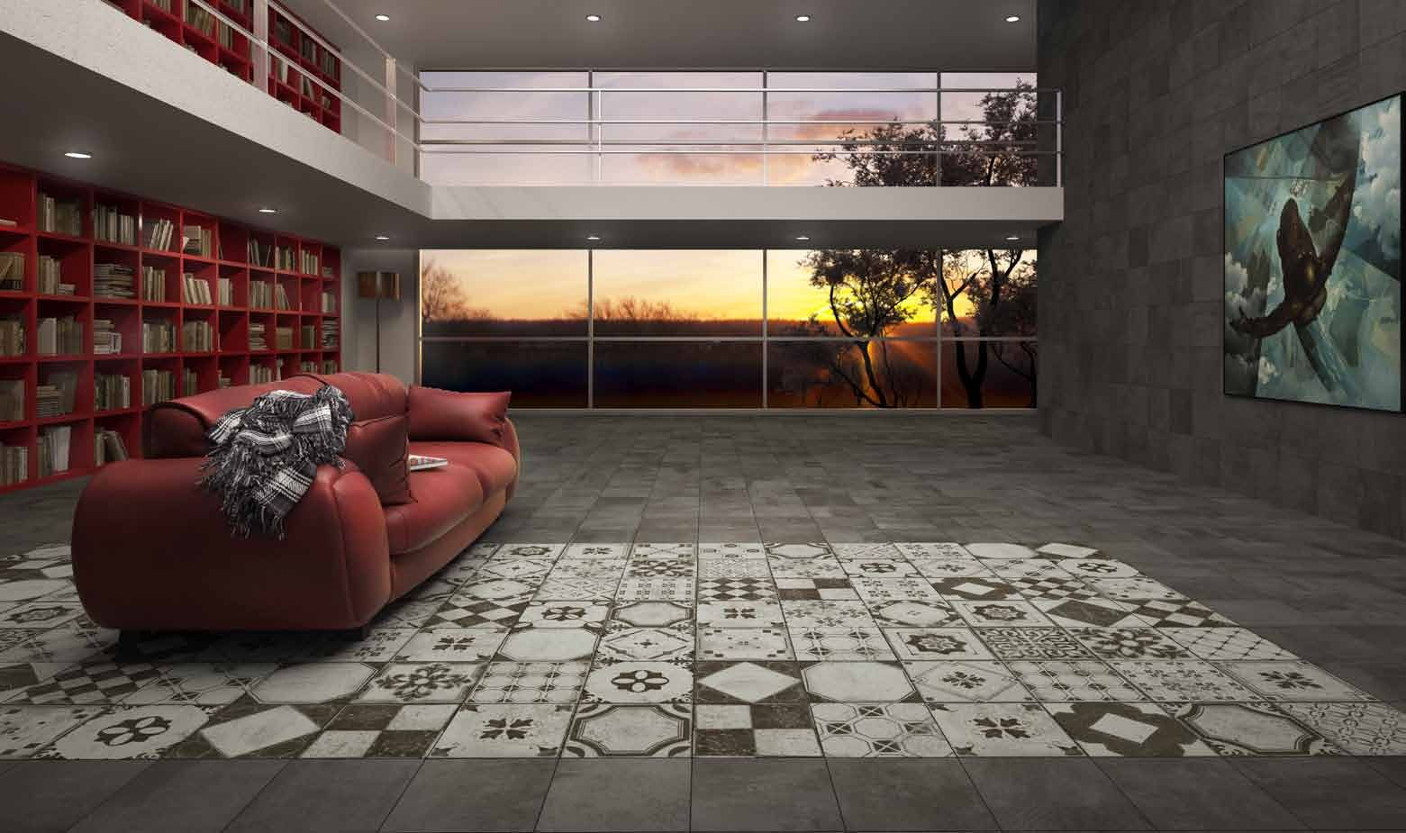 Patterned square tile rug in a living room