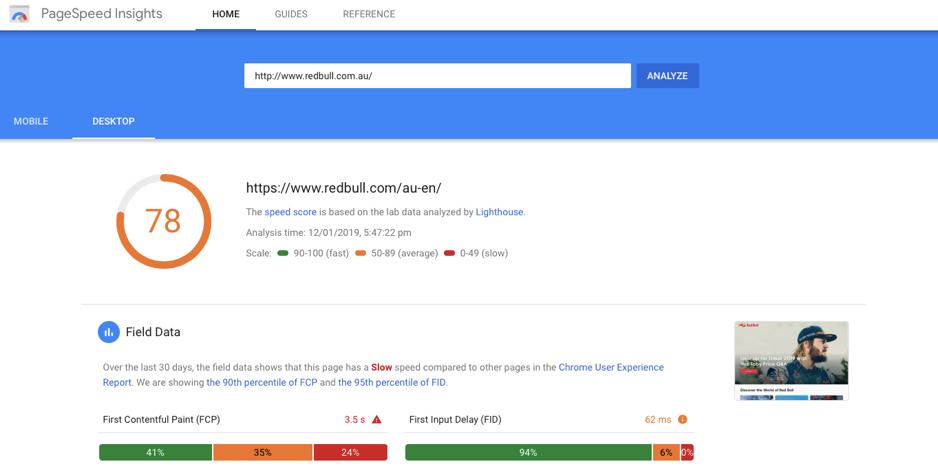 Digital marketing tools - Google's PageSpeed Insights