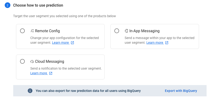 Choose how to use Firebase prediction