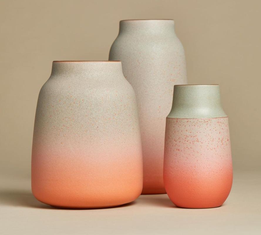 orange and white ceramics