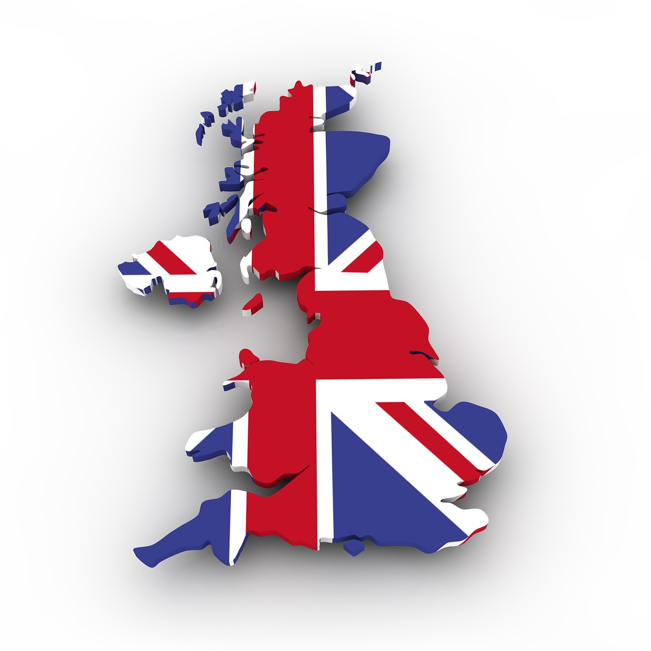A picture of britain with a flag over it.
