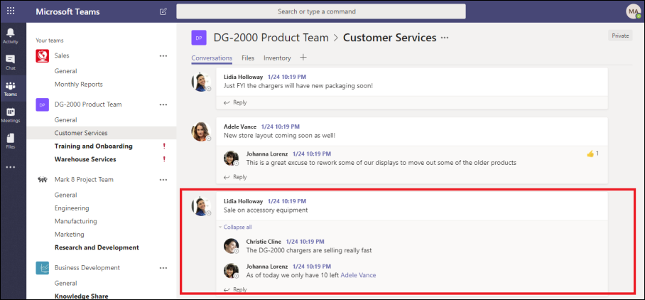 Use message threads to improve the Microsoft Teams experience