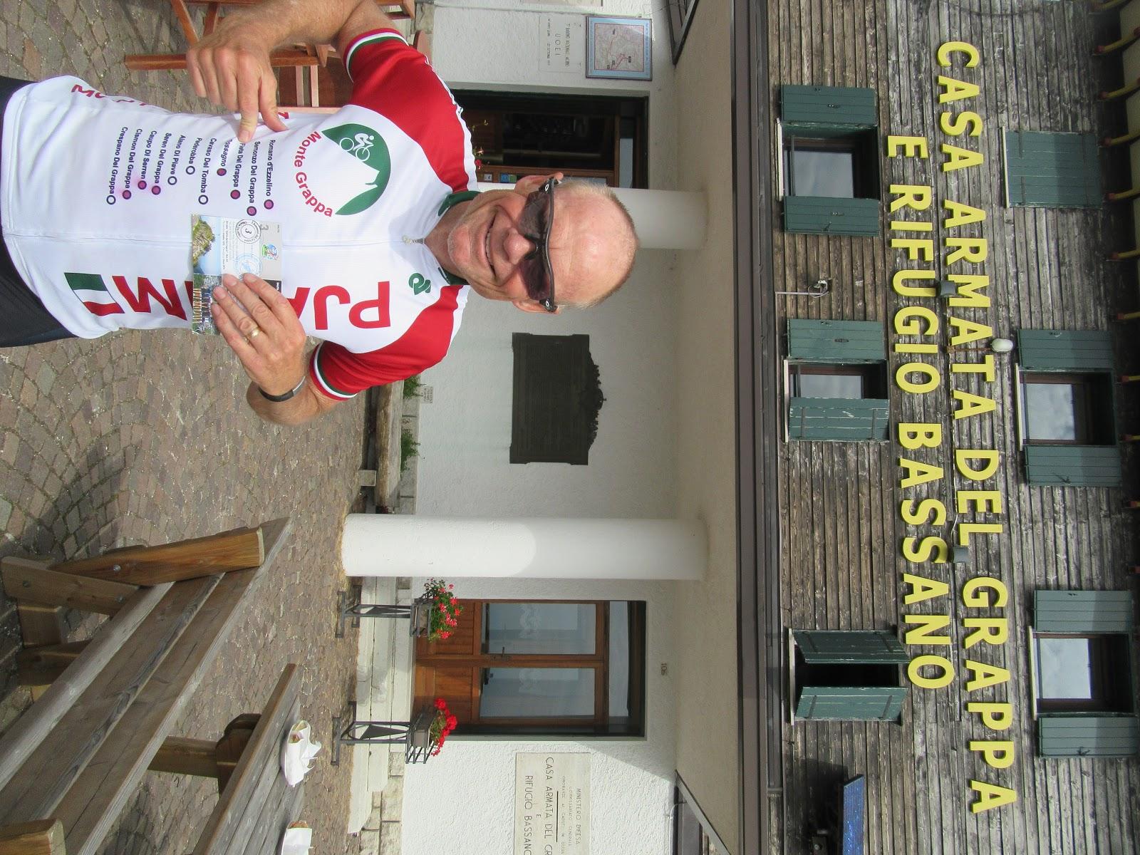 Cycling Monte Grappa from Fietta  John Johnson pjamm cycling with monte grappa jersey and Rifugio Bassano a cima Grappa