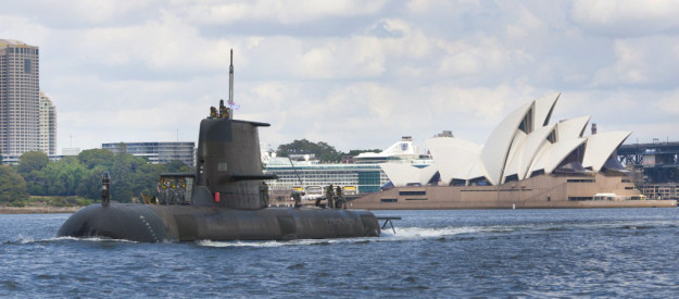 Royal Australian Navy Collins-class submarine HMAS Sheean (SSG-77) near the Sydney Opera House. RAN Photo