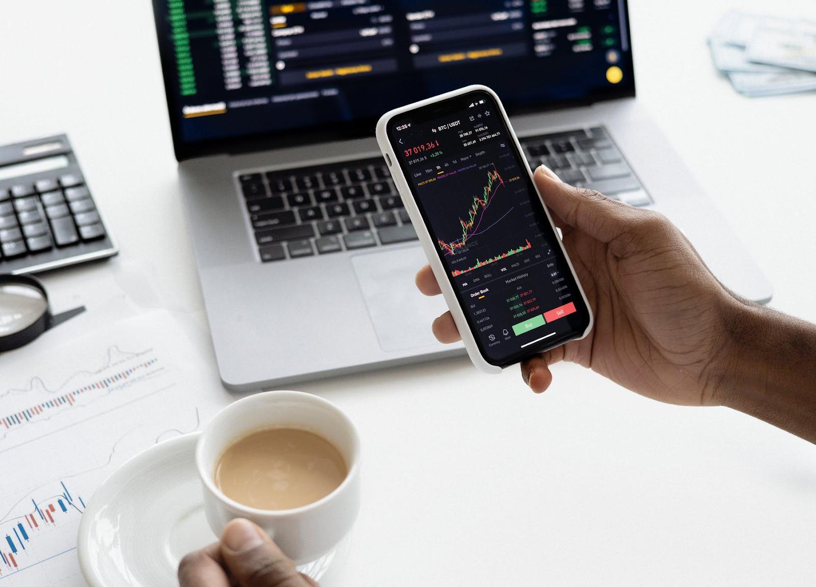 graph trend chart on phone,laptop, Digital marketing strategies