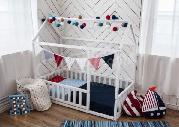 Toddler Bed with Rails All The Way Around: Montessori Floor Bed