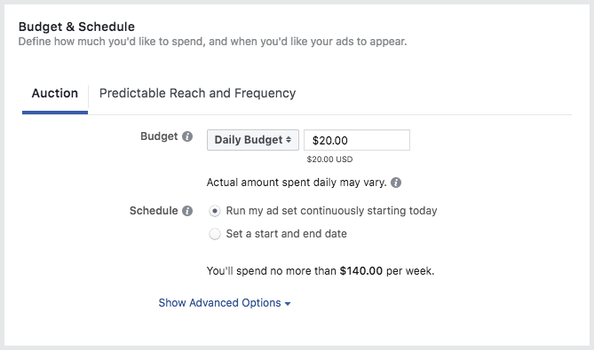 presupuestos en facebook