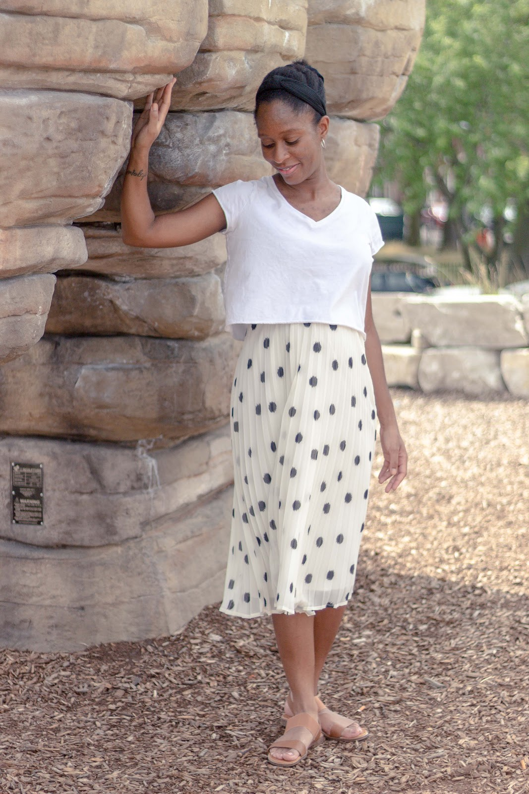 White Crop Tee and Midi Skirt - Patience & Pearls