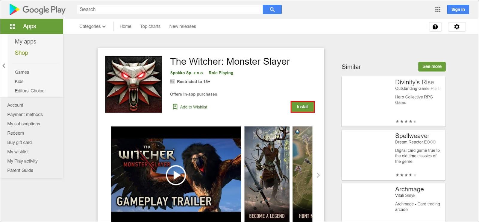 get monster slayer witcher game apk