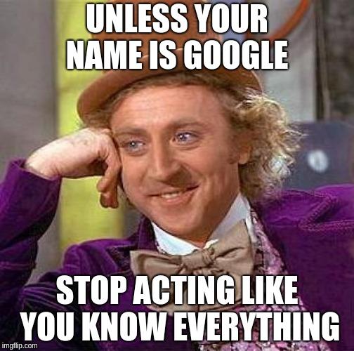 A man asking people to stop behaving like Google