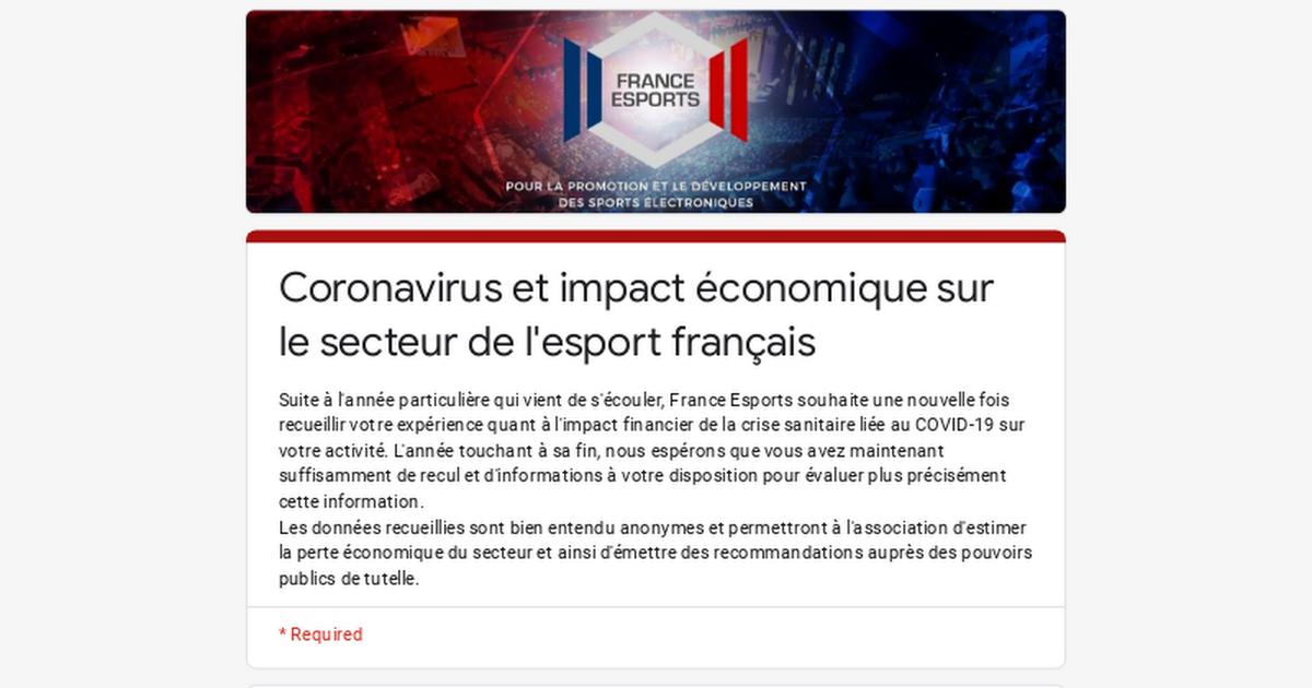 Coronavirus et impact économique sur le secteur de l'esport français