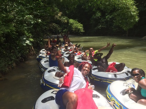 Tubing through the Jamaican jungle.