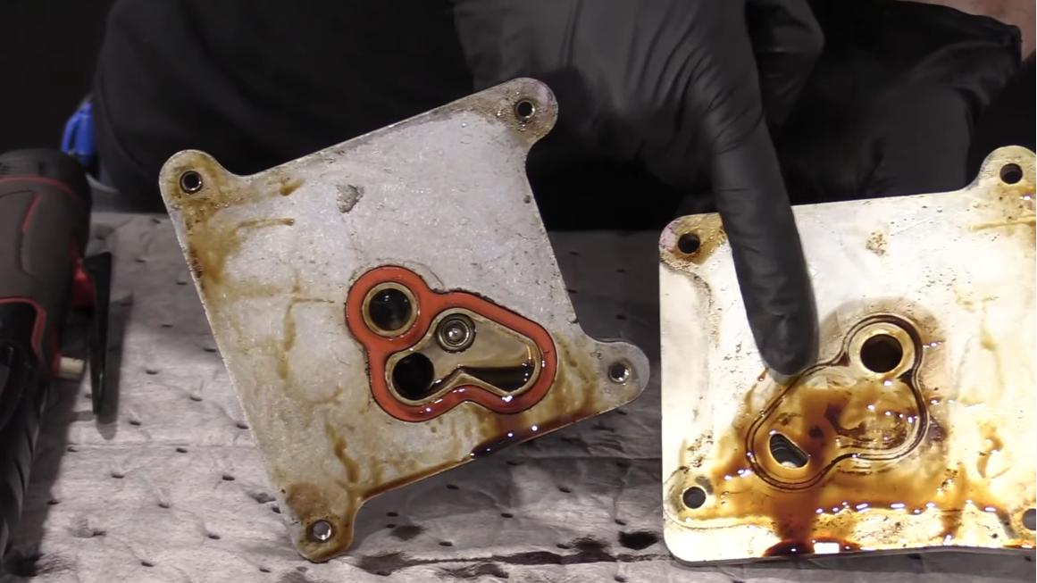 removing the degraded oil cooler gasket