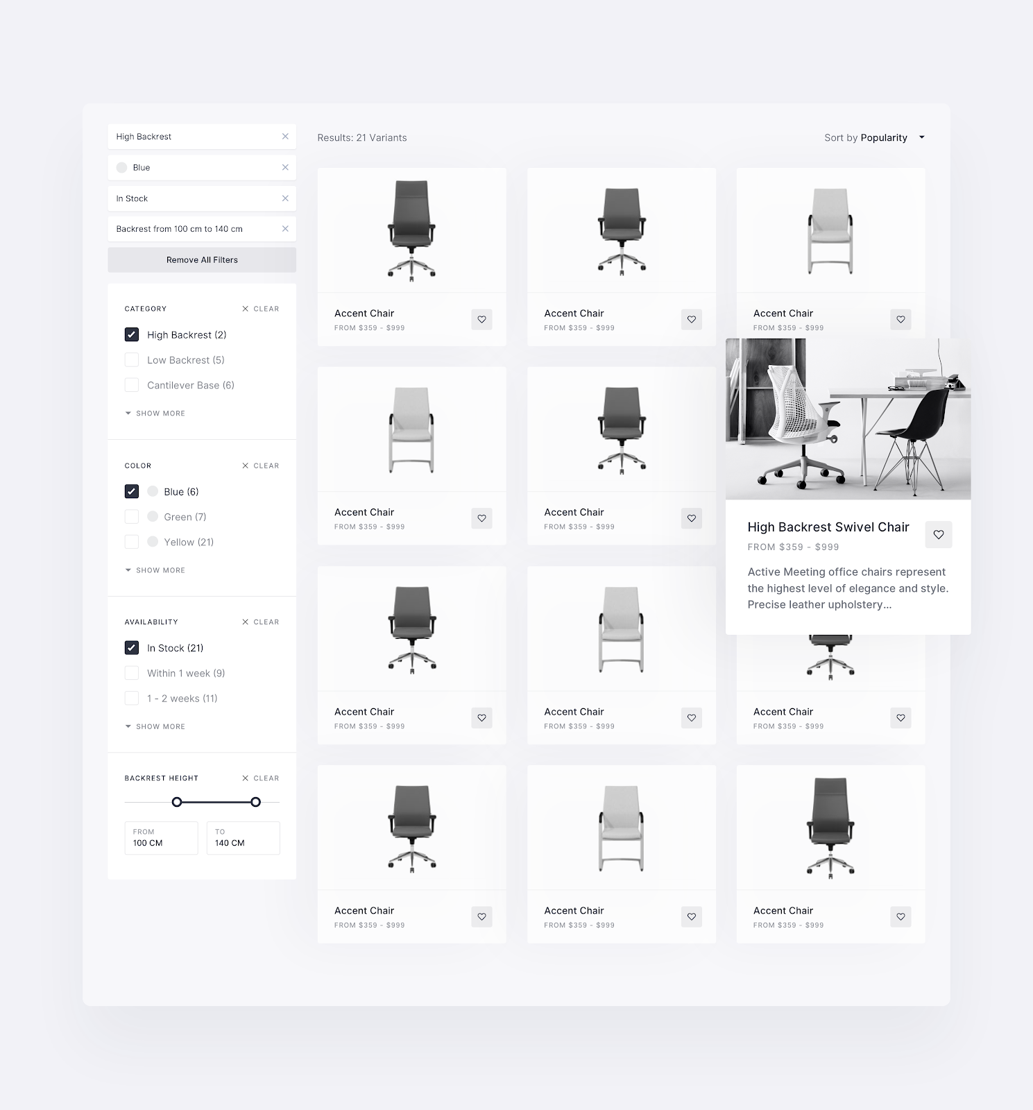 A medium fidelity wireframe example of a product search page for Michal Nowakowski's eCommerce website.