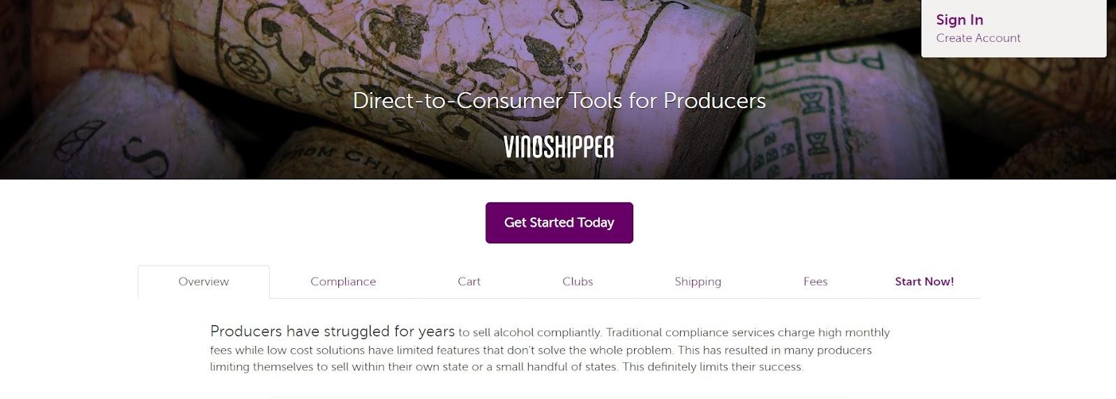 VinoShipper's landing page