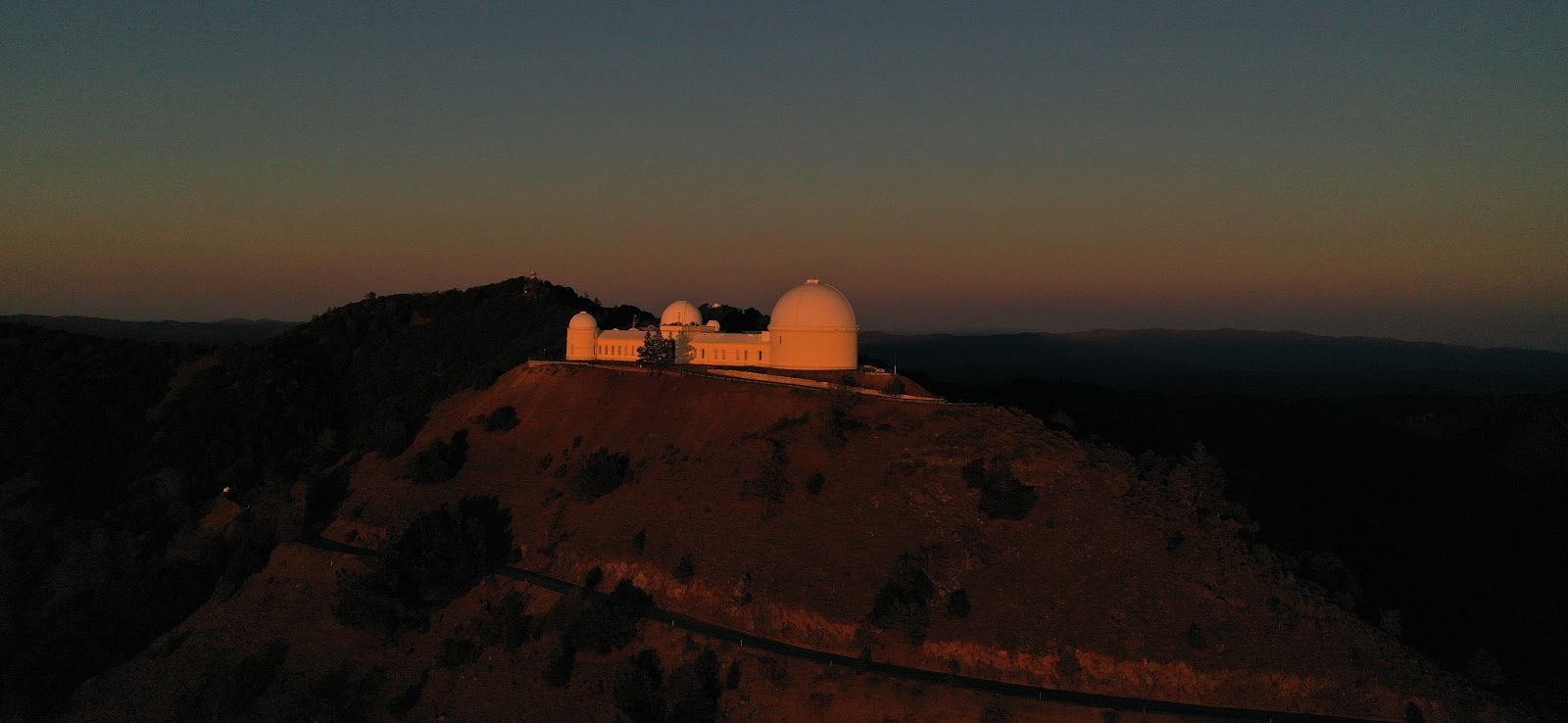 Cycling Mt. Hamilton - Lick Observatory aerial drone photo at sunset